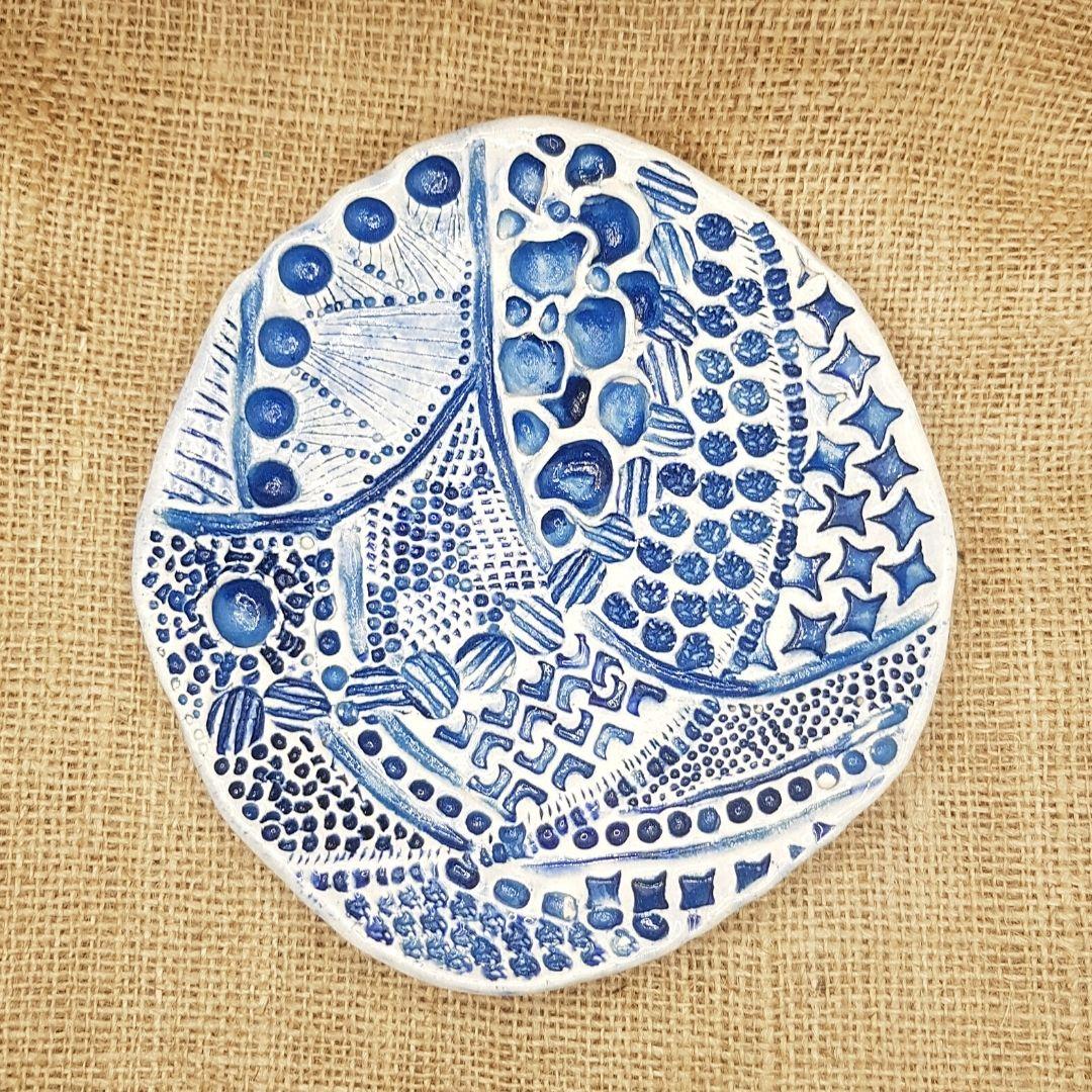 handmade pottery wall art, wall hanging, zentangle