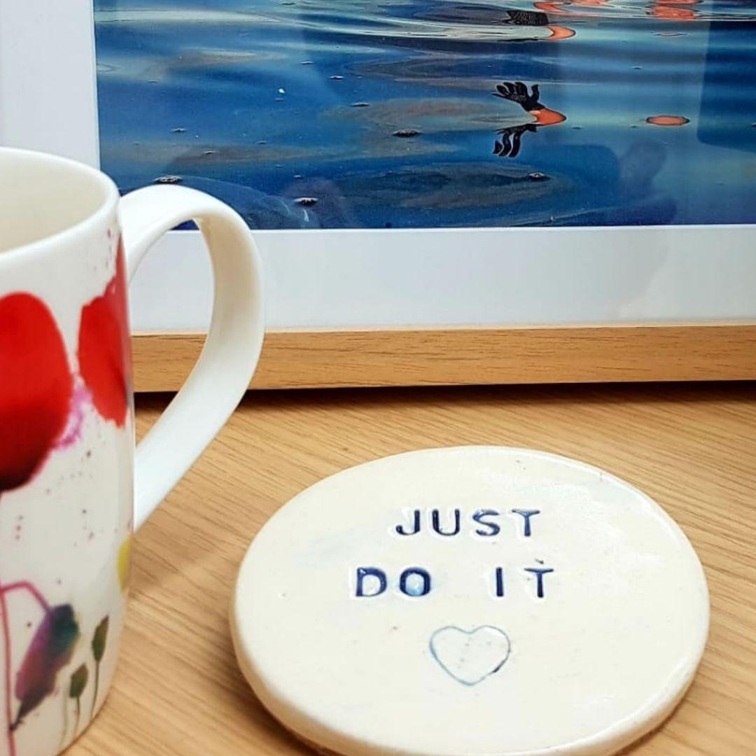 personalised handmade ceramic coaster